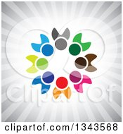 Clipart Of A Teamwork Unity Circle Of Colorful People Over Gray Rays Royalty Free Vector Illustration