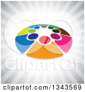 Clipart Of A Teamwork Unity Circle Of Colorful People Over Gray Rays 2 Royalty Free Vector Illustration
