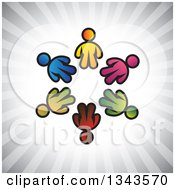 Clipart Of A Teamwork Unity Circle Of Colorful People Over Gray Rays 3 Royalty Free Vector Illustration
