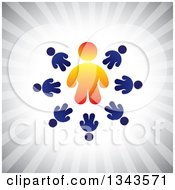 Clipart Of A Teamwork Unity Circle Of Blue People Around An Orange Leader Over Gray Rays Royalty Free Vector Illustration