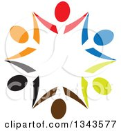 Clipart Of A Teamwork Unity Circle Of Colorful People Cheering Or Dancing 3 Royalty Free Vector Illustration