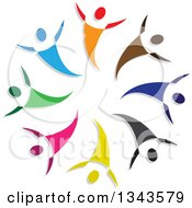 Clipart Of A Teamwork Unity Circle Of Colorful People Cheering Or Dancing 5 Royalty Free Vector Illustration