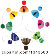 Clipart Of A Teamwork Unity Circle Of Colorful Business Men Royalty Free Vector Illustration by ColorMagic