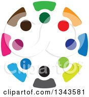 Clipart Of A Teamwork Unity Circle Of Colorful People 9 Royalty Free Vector Illustration