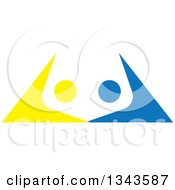 Clipart Of A Blue And Yellow People Dancing Or Cheering Royalty Free Vector Illustration
