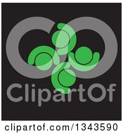 Clipart Of A Teamwork Unity Circle Of Green People Cheering Or Dancing Over Black Royalty Free Vector Illustration