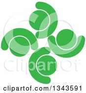 Clipart Of A Teamwork Unity Circle Of Green People Cheering Or Dancing Royalty Free Vector Illustration