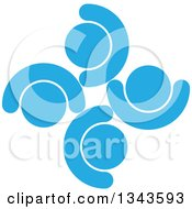 Clipart Of A Teamwork Unity Circle Of Blue People Cheering Or Dancing Royalty Free Vector Illustration