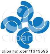 Clipart Of A Teamwork Unity Circle Of Blue People Cheering Or Dancing 2 Royalty Free Vector Illustration