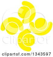 Clipart Of A Teamwork Unity Circle Of Yellow People Cheering Or Dancing Royalty Free Vector Illustration