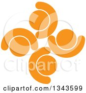 Clipart Of A Teamwork Unity Circle Of Cheering Orange People Royalty Free Vector Illustration