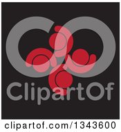 Clipart Of A Teamwork Unity Circle Of Red People Cheering Or Dancing Over Black Royalty Free Vector Illustration