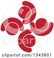Clipart Of A Teamwork Unity Circle Of Red People Cheering Or Dancing Royalty Free Vector Illustration