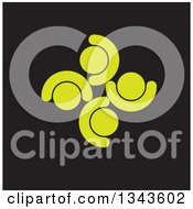 Clipart Of A Teamwork Unity Circle Of Light Green People Cheering Or Dancing Over Black Royalty Free Vector Illustration