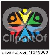 Clipart Of A Teamwork Unity Circle Of Colorful People Cheering Or Dancing Over Black 2 Royalty Free Vector Illustration