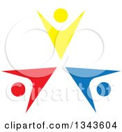 Clipart Of A Teamwork Unity Circle Of Colorful People Cheering Or Dancing 65 Royalty Free Vector Illustration
