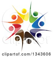 Clipart Of A Teamwork Unity Circle Of Colorful People Cheering Or Dancing 21 Royalty Free Vector Illustration