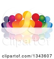 Clipart Of A Teamwork Unity Group Of Colorful People And A Reflection Royalty Free Vector Illustration