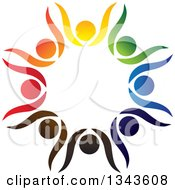 Clipart Of A Teamwork Unity Circle Of Colorful People Cheering Or Dancing 20 Royalty Free Vector Illustration