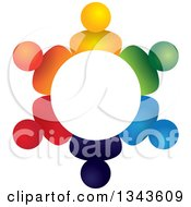 Clipart Of A Teamwork Unity Circle Of Colorful People 40 Royalty Free Vector Illustration