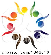 Clipart Of A Teamwork Unity Circle Of Colorful People Cheering Or Dancing 19 Royalty Free Vector Illustration