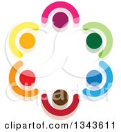 Clipart Of A Teamwork Unity Circle Of Colorful People 34 Royalty Free Vector Illustration