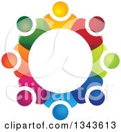 Clipart Of A Teamwork Unity Circle Of Colorful People 37 Royalty Free Vector Illustration