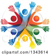 Clipart Of A Teamwork Unity Circle Of Colorful People Cheering Or Dancing 18 Royalty Free Vector Illustration