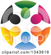 Clipart Of A Teamwork Unity Circle Of Colorful People 39 Royalty Free Vector Illustration