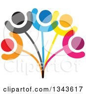 Clipart Of A Teamwork Unity Group Of Colorful People On A Plant 2 Royalty Free Vector Illustration