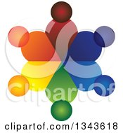 Clipart Of A Teamwork Unity Circle Of Colorful People 21 Royalty Free Vector Illustration