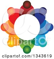Clipart Of A Teamwork Unity Circle Of Colorful People 22 Royalty Free Vector Illustration