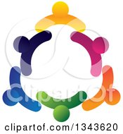 Clipart Of A Teamwork Unity Circle Of Colorful People 23 Royalty Free Vector Illustration