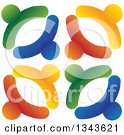 Clipart Of A Teamwork Unity Design Of Colorful People 2 Royalty Free Vector Illustration
