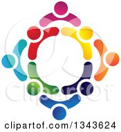 Clipart Of A Teamwork Unity Circle Of Colorful People 25 Royalty Free Vector Illustration