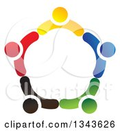 Clipart Of A Teamwork Unity Circle Of Colorful People 27 Royalty Free Vector Illustration
