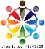 Clipart Of A Teamwork Unity Circle Of Colorful People 29 Royalty Free Vector Illustration