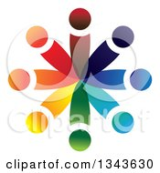 Clipart Of A Teamwork Unity Circle Of Colorful People 30 Royalty Free Vector Illustration