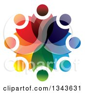 Clipart Of A Teamwork Unity Circle Of Colorful People 31 Royalty Free Vector Illustration