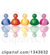 Clipart Of A 3d Row Of Colorful People With Reflections Royalty Free Vector Illustration