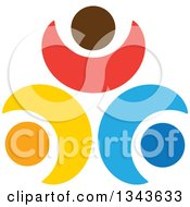 Clipart Of A Teamwork Unity Circle Of Colorful People Cheering Or Dancing 15 Royalty Free Vector Illustration