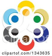 Clipart Of A Teamwork Unity Circle Of Colorful People 32 Royalty Free Vector Illustration