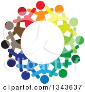 Clipart Of A Teamwork Unity Circle Of Colorful People Cheering Or Dancing 11 Royalty Free Vector Illustration