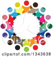 Clipart Of A Teamwork Unity Circle Of Colorful People Cheering Or Dancing 12 Royalty Free Vector Illustration