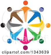 Clipart Of A Teamwork Unity Circle Of Colorful People 12 Royalty Free Vector Illustration