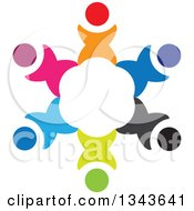 Clipart Of A Teamwork Unity Circle Of Colorful People Cheering Or Dancing 14 Royalty Free Vector Illustration