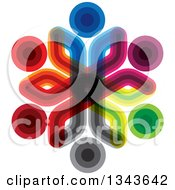 Clipart Of A Teamwork Unity Circle Of Colorful People 13 Royalty Free Vector Illustration