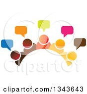 Clipart Of A Teamwork Unity Group Arch Of Colorful People Talking Royalty Free Vector Illustration by ColorMagic