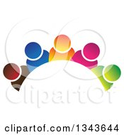 Clipart Of A Teamwork Unity Group Arch Of Colorful People Royalty Free Vector Illustration