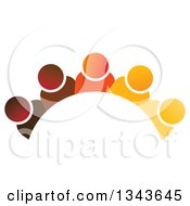 Clipart Of A Teamwork Unity Group Arch Of Colorful People 2 Royalty Free Vector Illustration